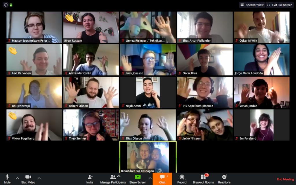 Syntolkning: En screenshot på ett tjugotal deltagare som befinner sig i varsin videoruta. Alla har olika frisyrer och kläder, viftar med händerna och ler in i kameran.