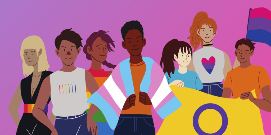 Syntolkning: Illustration av sju personer mot en lila och rosa bakgrund. Alla har olika frisyrer och klädstilar som matchar regnbågsflaggan, och flaggorna för trans, intersex och bisexualitet.